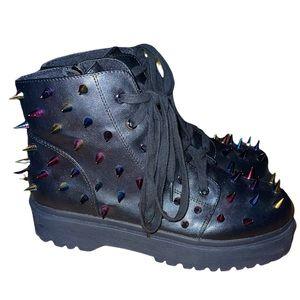 NWOB YRU Fierce Multicolour Spiked Boots Size 10